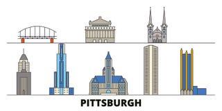 Διανυσματική απεικόνιση Ηνωμένων, Πίτσμπουργκ επίπεδη ορόσημων Πόλη Ηνωμένων, Πίτσμπουργκ γραμμών με το διάσημο ταξίδι ελεύθερη απεικόνιση δικαιώματος