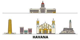 Διανυσματική απεικόνιση ορόσημων της Κούβας, Αβάνα επίπεδη Πόλη γραμμών της Κούβας, Αβάνα με τις διάσημες θέες ταξιδιού, ορίζοντα απεικόνιση αποθεμάτων