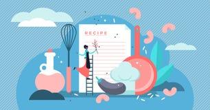 Διανυσματική απεικόνιση συνταγών Ο επίπεδος μικροσκοπικός αρχιμάγειρας γράφει την έννοια καταλόγων συστατικών ελεύθερη απεικόνιση δικαιώματος