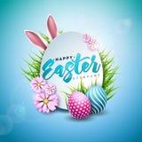 Διανυσματική απεικόνιση των ευτυχών διακοπών Πάσχας με το χρωματισμένο αυγό, τα αυτιά κουνελιών και το λουλούδι ανοίξεων στο λαμπ διανυσματική απεικόνιση