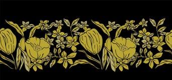 Διανυσματική απεικόνιση των τυποποιημένων χρυσών τουλιπών, των ίριδων και των παπαρουνών στο μαύρο υπόβαθρο απεικόνιση αποθεμάτων