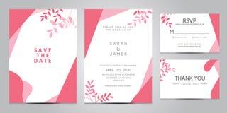 Διανυσματική απεικόνιση προτύπων καρτών γαμήλιας πρόσκλησης Το σύνολο κάρτας με το λουλούδι αυξήθηκε, φύλλα Η Floral αφίσα, προσκ στοκ φωτογραφία με δικαίωμα ελεύθερης χρήσης