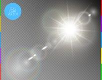 Διανυσματική διαφανής ελαφριά επίδραση φλογών φακών φωτός του ήλιου ειδική Απομονωμένα ακτίνες και επίκεντρο λάμψης ήλιων Άσπρος  ελεύθερη απεικόνιση δικαιώματος