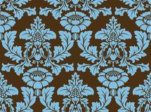 ΔΙΑΝΥΣΜΑΤΙΚΟ ΑΝΕΥ ΡΑΦΉΣ DAMASK ΠΡΟΤΥΠΟ Μπλε και καφετιά χρώματα στοκ φωτογραφία με δικαίωμα ελεύθερης χρήσης