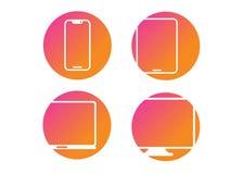 Διανυσματικός κινητός, ταμπλέτα, lap-top, σύνολο εικονιδίων συσκευών υπολογιστών διανυσματική απεικόνιση