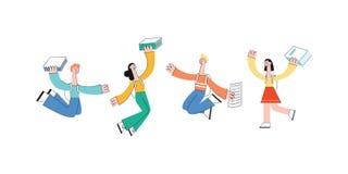 Διανυσματικό ευτυχές άλμα σπουδαστών κοριτσιών ατόμων εφήβων με το βιβλίο ελεύθερη απεικόνιση δικαιώματος