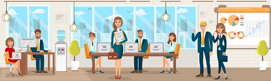 Διανυσματικό επίπεδο γραφείο εγγραφής με τους ειδικούς ελεύθερη απεικόνιση δικαιώματος