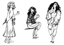 Διανυσματικό σύνολο απεικόνισης μόδας τριών μοντέρνων κοριτσιών γραπτό σε γραμμικό επιχειρησιακού styl στο άσπρο υπόβαθρο διανυσματική απεικόνιση
