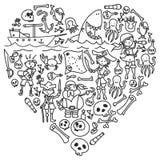 Διανυσματικό σύνολο εικονιδίων σχεδίων των παιδιών πειρατών στο ύφος doodle Χρωματισμένος, μαύρος μονοχρωματικός, εικόνες σε ένα  ελεύθερη απεικόνιση δικαιώματος