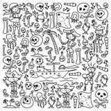Διανυσματικό σύνολο εικονιδίων σχεδίων των παιδιών πειρατών στο ύφος doodle Χρωματισμένος, μαύρος μονοχρωματικός, εικόνες σε ένα  διανυσματική απεικόνιση