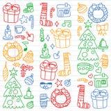 Διανυσματικό σύνολο Χριστουγέννων, χειμερινές ημέρες 2019, 2020, απεικόνιση διακοπών Σχέδιο του νέου έτους, σχέδια των παιδιών με ελεύθερη απεικόνιση δικαιώματος
