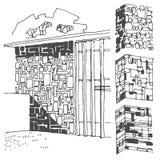 Διανυσματικό συρμένο χέρι σκίτσο της απεικόνισης σύστασης τοίχων στο άσπρο υπόβαθρο διανυσματική απεικόνιση