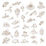 Διανυσματικό συρμένο χέρι σκίτσο της απεικόνισης στρατοπέδευσης στο wh απεικόνιση αποθεμάτων