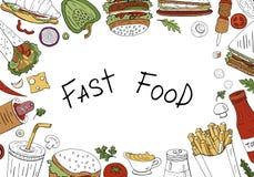 Διανυσματικό υπόβαθρο γρήγορου φαγητού, τοπ άποψη στο άσπρο υπόβαθρο με το διάστημα για το κείμενο Συρμένη χέρι συλλογή γρήγορου  στοκ εικόνες