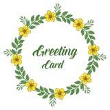 Διανυσματικό πλαίσιο λουλουδιών απεικόνισης κίτρινο για την εγγραφή της ευχετήριας κάρτας απεικόνιση αποθεμάτων