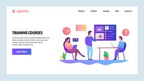 Διανυσματικό πρότυπο σχεδίου ιστοχώρου Επιχειρησιακή συνεδρίαση και παρουσίαση Εκπαιδευτικό μάθημα με το δάσκαλο Έννοιες σελίδων  απεικόνιση αποθεμάτων
