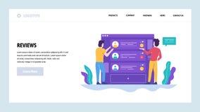 Διανυσματικό πρότυπο σχεδίου ιστοχώρου Σε απευθείας σύνδεση αναθεωρήσεις και εκτίμηση πελατών Έννοιες σελίδων προσγείωσης για τον απεικόνιση αποθεμάτων