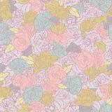 Διανυσματικό Rockabilly αναδρομικό υπόβαθρο σχεδίων τριαντάφυλλων άνευ ραφής διανυσματική απεικόνιση