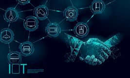Διαδίκτυο της έννοιας χειραψιών εργασίας εικονιδίων πραγμάτων Έξυπνες ICT δικτύων επικοινωνίας πόλεων ασύρματες IOT Σπίτι ευφυές ελεύθερη απεικόνιση δικαιώματος