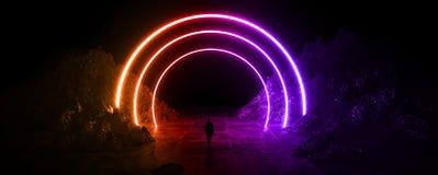 Διαστημικό φουτουριστικό τοπίο Φλογεροί μετεωρίτες, σπινθήρες, καπνός, ελαφριές αψίδες Σκοτεινό υπόβαθρο με το ελαφρύ στοιχείο στ διανυσματική απεικόνιση