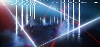 Διαστημικό φουτουριστικό τοπίο Φλογεροί μετεωρίτες, σπινθήρες, καπνός, ελαφριές αψίδες Σκοτεινό υπόβαθρο με το ελαφρύ στοιχείο στ ελεύθερη απεικόνιση δικαιώματος