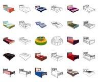 Διαφορετικά κινούμενα σχέδια κρεβατιών, εικονίδια περιλήψεων στην καθορισμένη συλλογή για το σχέδιο Έπιπλα για το διανυσματικό is ελεύθερη απεικόνιση δικαιώματος