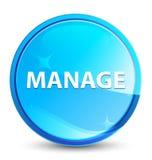 Διαχειριστείτε το φυσικό μπλε στρογγυλό κουμπί παφλασμών απεικόνιση αποθεμάτων