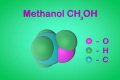 Δομικοί χημικοί τύπος και πρότυπο του μορίου μεθυλικού οινοπνεύματος μεθανόλης Τα άτομα αντιπροσωπεύονται ως σφαίρες με απεικόνιση αποθεμάτων