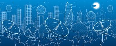 Δορυφορικά πιάτα στα ξύλα, τεχνολογία επικοινωνιών κεραιών, καιρικός σταθμός, εγκαταστάσεις ραντάρ, πόλη νύχτας, αστική σκηνή, β απεικόνιση αποθεμάτων