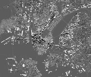 Δορυφορική άποψη της Βοστώνης, του χάρτη της πόλης με το σπίτι και της οικοδόμησης ουρανοξύστες Μασαχουσέτη ΗΠΑ ελεύθερη απεικόνιση δικαιώματος
