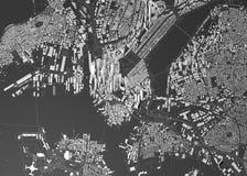 Δορυφορική άποψη της Βοστώνης, του χάρτη της πόλης με το σπίτι και της οικοδόμησης ουρανοξύστες Μασαχουσέτη ΗΠΑ διανυσματική απεικόνιση