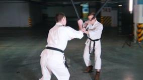 Δύο άτομα που εκπαιδεύουν το kendo σε έναν χώρο στάθμευσης απόθεμα βίντεο