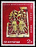 Δύο βασιλιάδες Deva, δυναστεία Koguryo, κορεατικά πολιτιστικά λείψανα serie, circa 1977 στοκ εικόνες