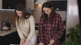 Δύο κορίτσια προετοιμάζουν μια φυτική σαλάτα στην κουζίνα Τα κορίτσια κόβουν επάνω τις ντομάτες για τη σαλάτα απόθεμα βίντεο