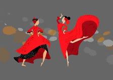 Δύο νέα ισπανικά κορίτσια παραδοσιακό flamenco χορού φορεμάτων διανυσματική απεικόνιση