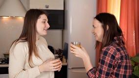 Δύο νέα κορίτσια που κουβεντιάζουν στην κουζίνα και το χυμό από πορτοκάλι κατανάλωσης ενώ το γεύμα προετοιμάζεται απόθεμα βίντεο