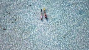 Δύο δύτες κοριτσιών εξερευνούν το ωκεάνειο κρεβάτι γύρω από το εξωτικό νησί, πυροβολισμός υψηλός-γωνίας του magnific τοπίου του ω φιλμ μικρού μήκους