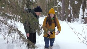 Δύο τουρίστες με τα σακίδια πλάτης, ένας νεαρός άνδρας και ένα κορίτσι, σε ένα χειμερινό χιονισμένο δάσος εξετάζουν έναν χάρτη εγ απόθεμα βίντεο