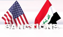 Δυτικές αμερικανικές κυρώσεις ενάντια στο Ιράκ τρισδιάστατη απεικόνιση ελεύθερη απεικόνιση δικαιώματος