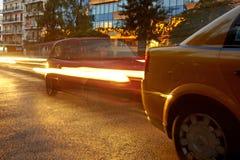 Î-наш пика трафика в Афинах Движение автомобиля Стоковое фото RF