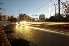 Î-наш пика трафика в Афинах Движение автомобиля Стоковые Фотографии RF