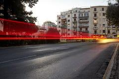 Î-наш пика трафика в Афинах Движение автомобиля Стоковая Фотография RF