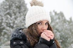 Î'eautiful妇女,当它下雪用结冰的手时 免版税图库摄影