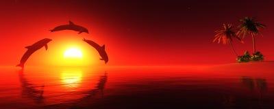 Île au coucher du soleil Photos libres de droits