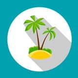 Île avec l'icône tropicale d'océan de vacances de vacances d'été de palmier Photographie stock
