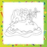 Île décrite de bande dessinée avec le palmier et la roche Images libres de droits