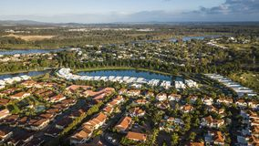 Île d'espoir de vue de matin, la Gold Coast regardant la rivière de coomera image libre de droits