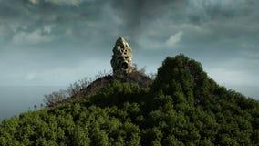 Île d'horreur dans l'océan crâne criard diabolique Concept de Veille de la toussaint Enfer images libres de droits
