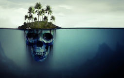 Île dangereuse avec le crâne dessous Photos libres de droits