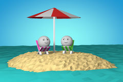Île dans l'océan avec le symbole de smiley de la forme 3d de boule Images libres de droits